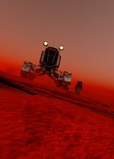 Astronaut and vehicle on mars