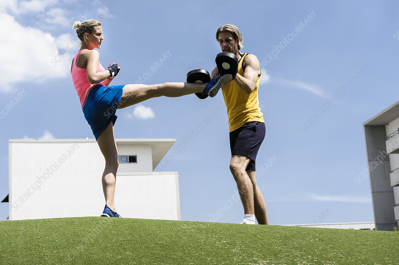 Female kick boxer and personal trainer