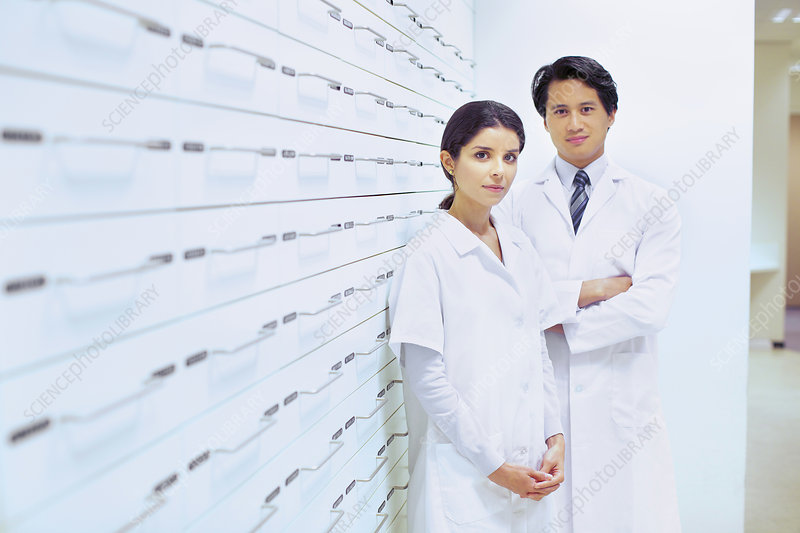 Portrait of male and female pharmacists