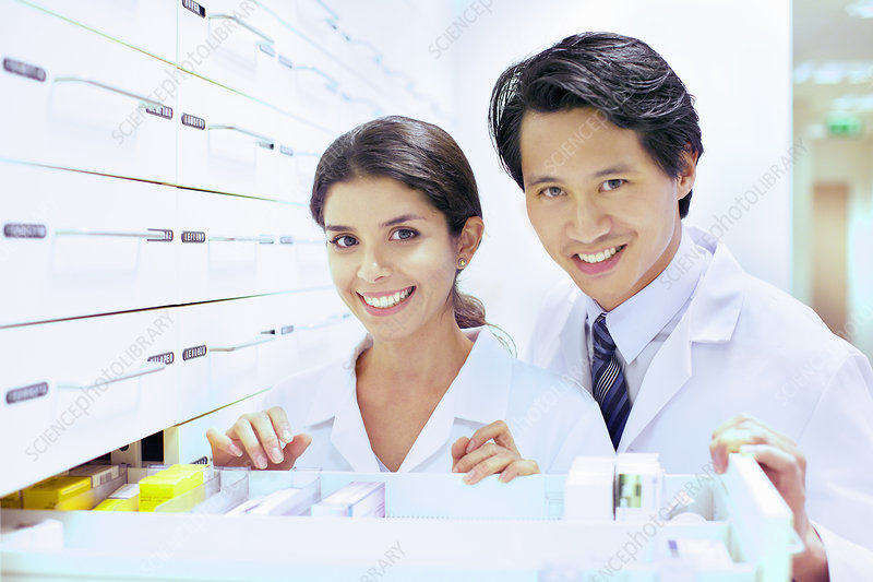 Portrait of pharmacist and trainee