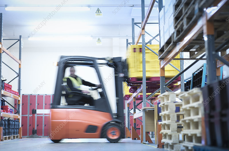 Industrial training with forklift truck