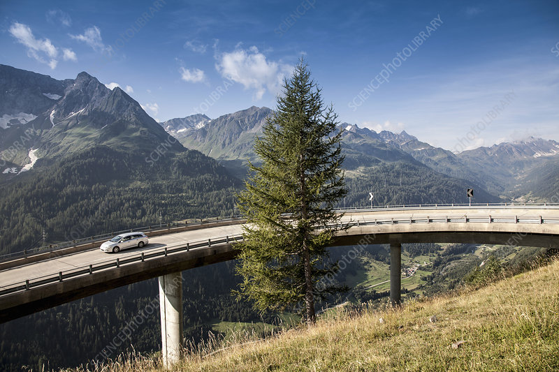 Car on elevated highway, Switzerland
