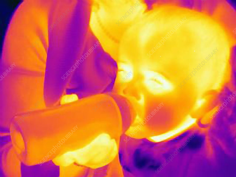 Mother feeding baby a bottle, thermogram