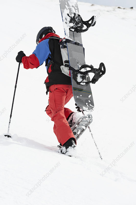 Mid adult snowboarder walking uphill