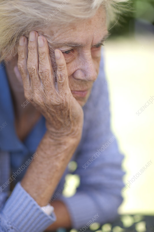 Close up of unhappy senior woman