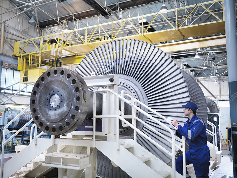 Engineer in steam turbine repair workshop
