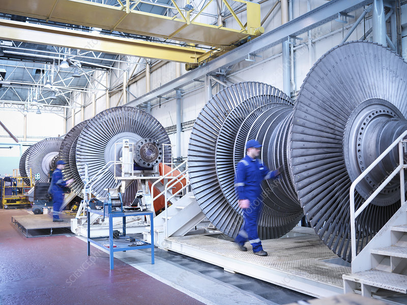 Engineers with steam turbines