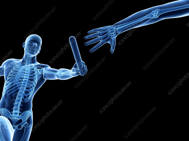Person passing relay baton, artwork