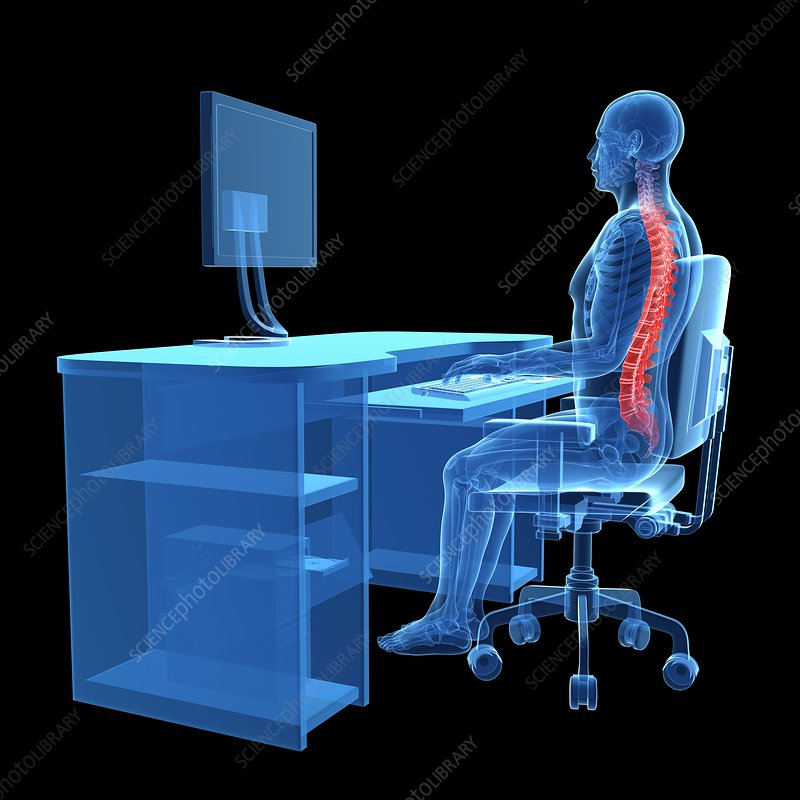 Person sitting with correct posture