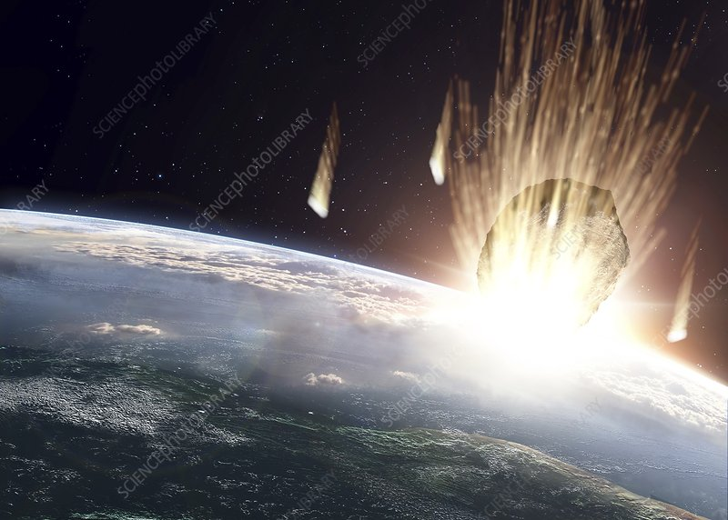 Asteroid above Earth, artwork