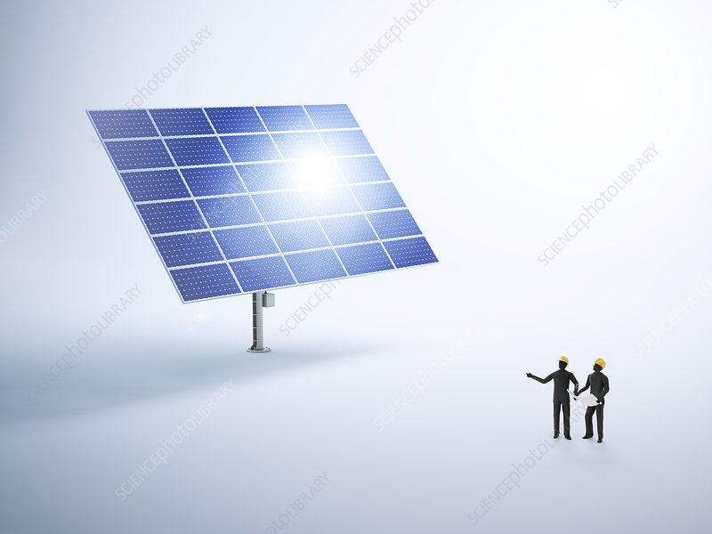 Engineers and solar panels, artwork