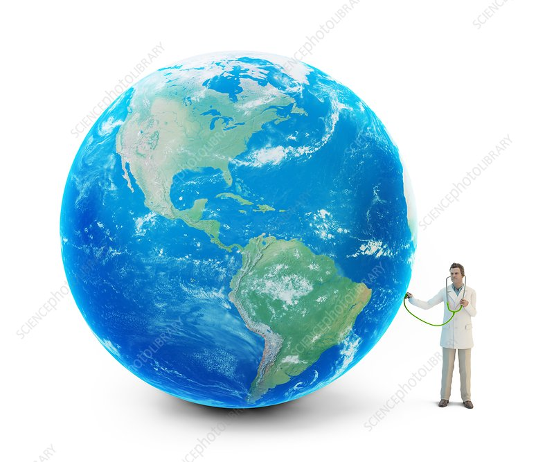 Doctor examining planet Earth, artwork
