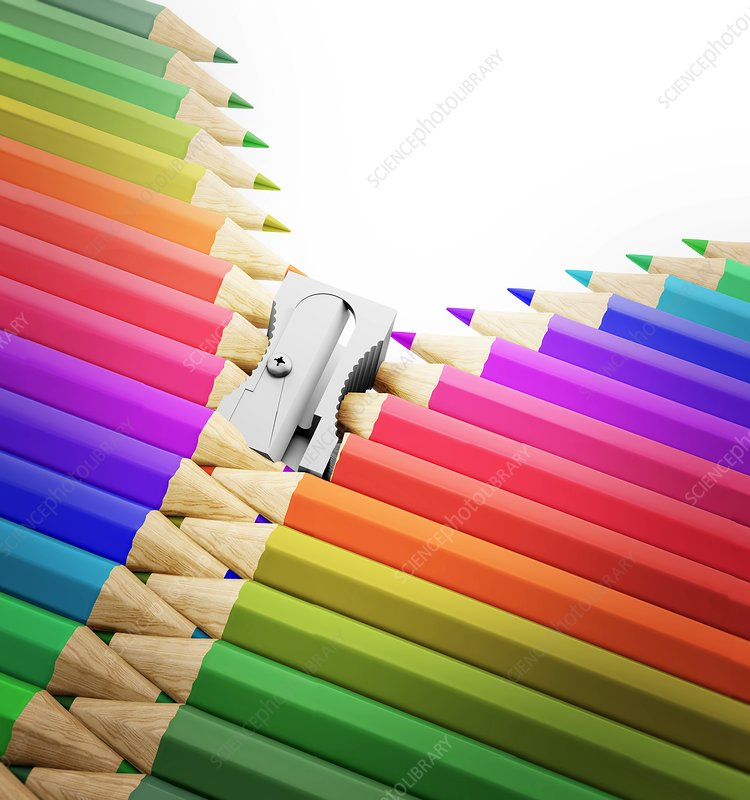Colouring pencils and sharpener, artwork