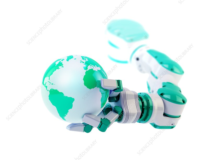 Robotic hand holding a globe, artwork