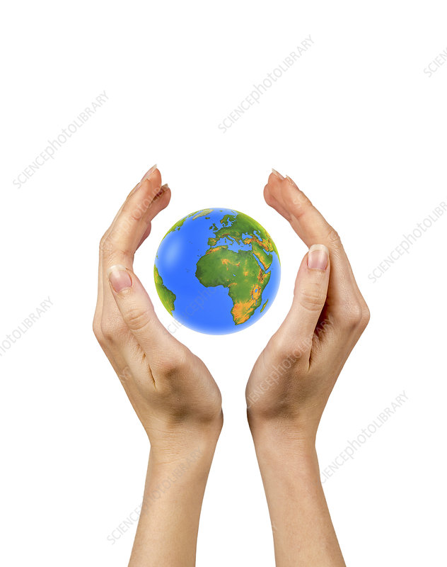 Person holding the globe in their hands