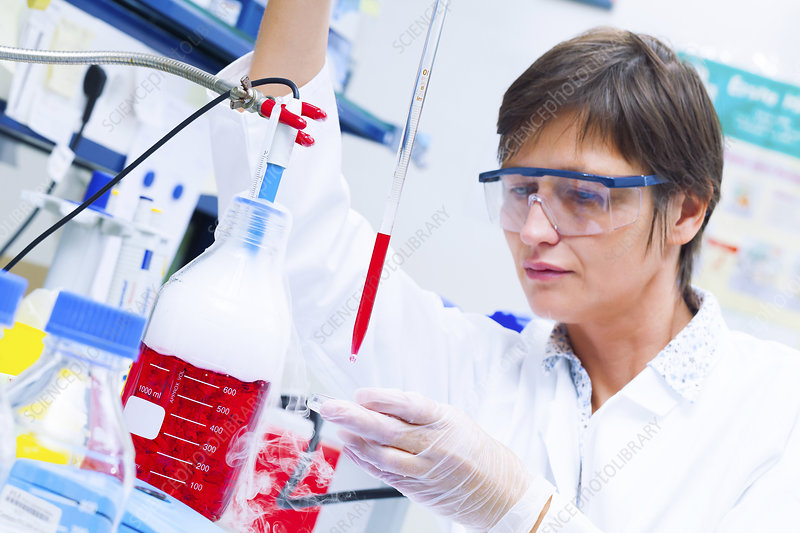Female technician working in a lab