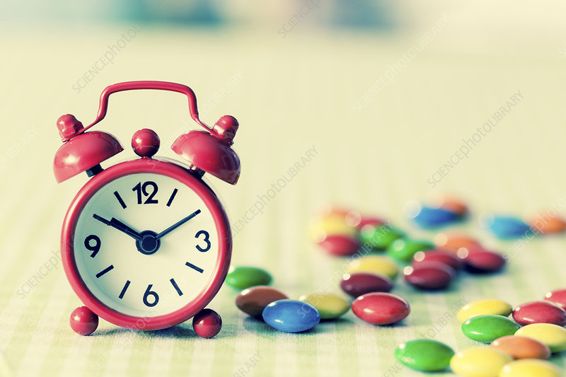 Alarm clock and confectionary