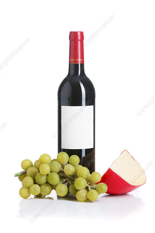 Bottle of wine, cheese and grapes