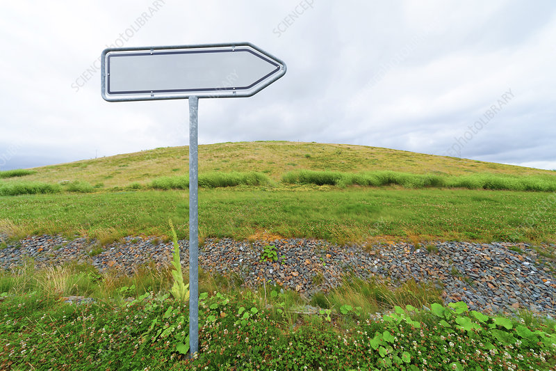 Blank directional sign in a field
