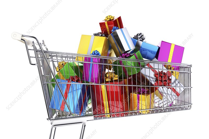Supermarket trolley full of presents
