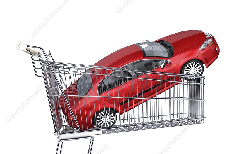 Car inside a shopping trolley, artwork