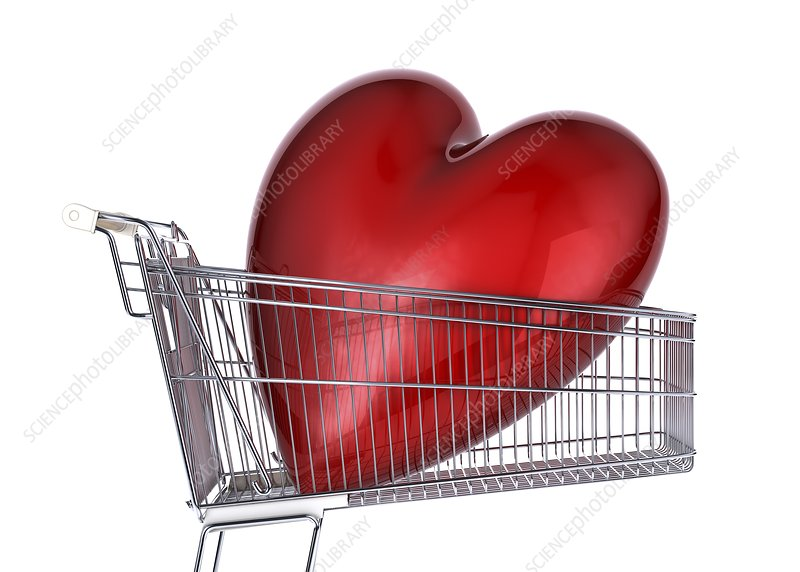 Heart inside a shopping trolley, artwork
