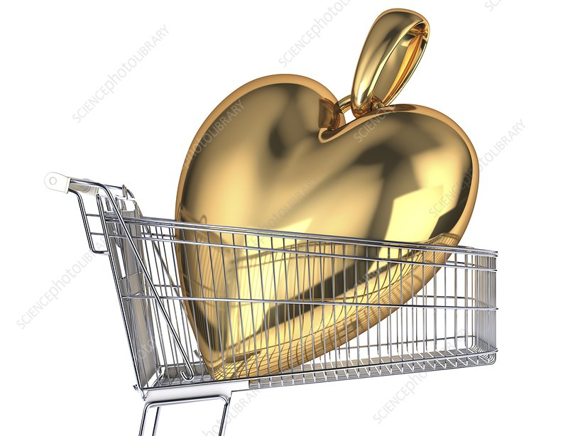 Gold heart in a shopping trolley, artwork
