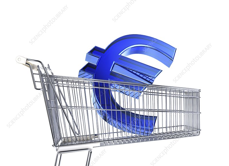 Euro sign inside a supermarket trolley