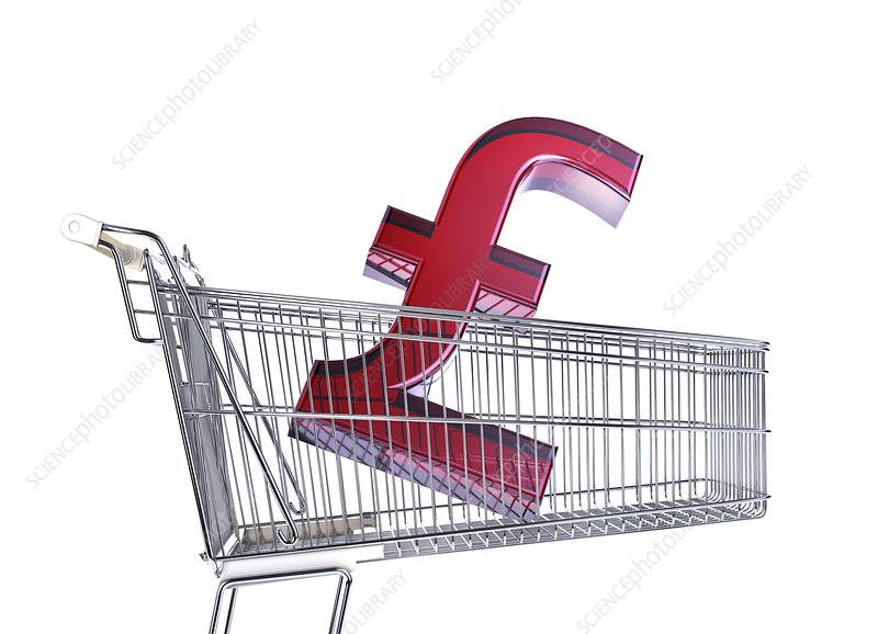 British pound sign in a trolley, artwork