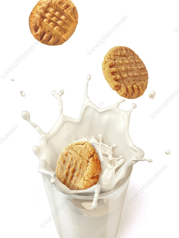 Biscuits splashing into milk, artwork