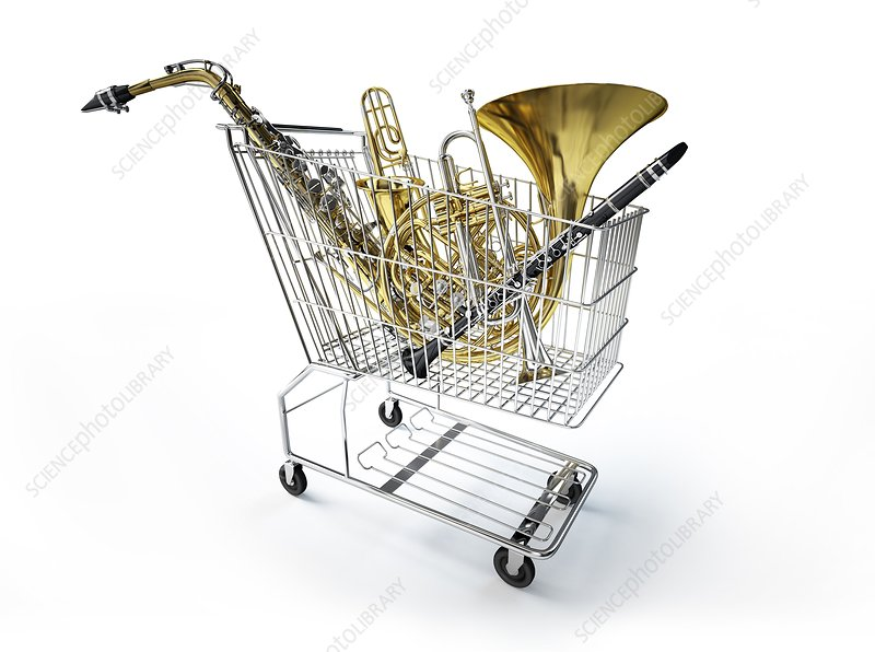Shopping trolley and musical instruments