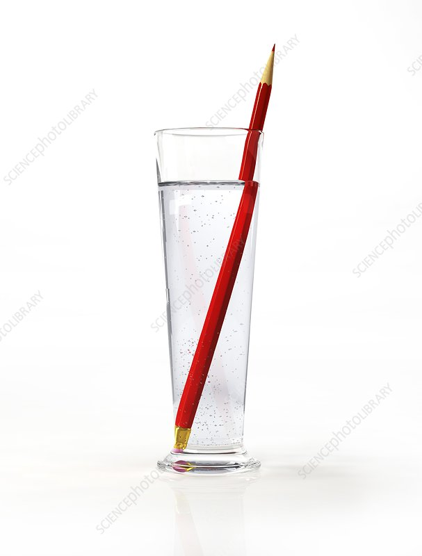Glass of water with a red pencil, artwork