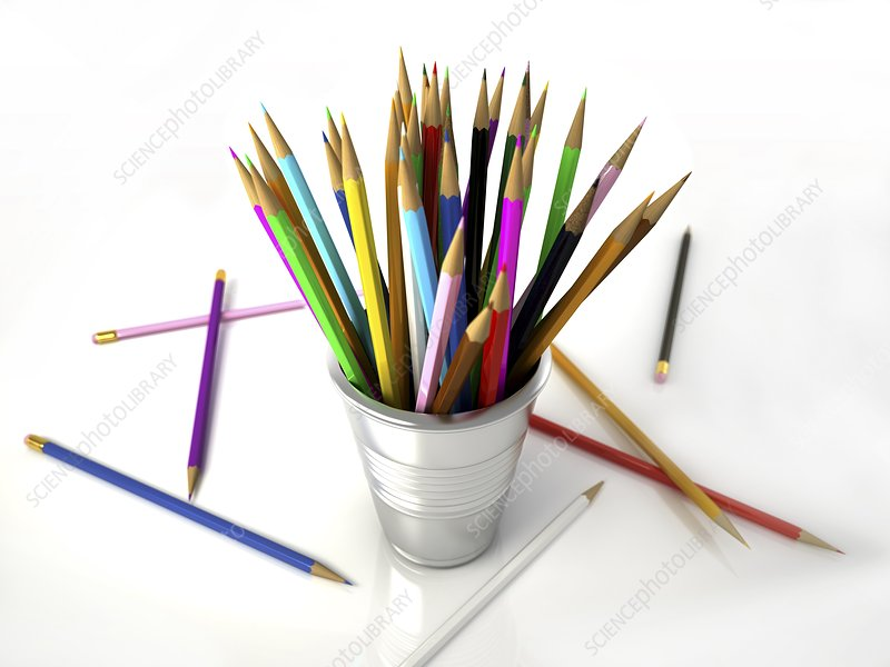 Colouring pencils in a pot, artwork