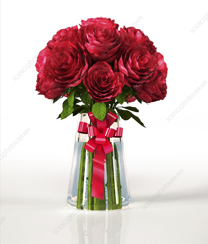 Red roses in a vase, artwork