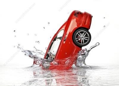 Red car splashing into water, artwork