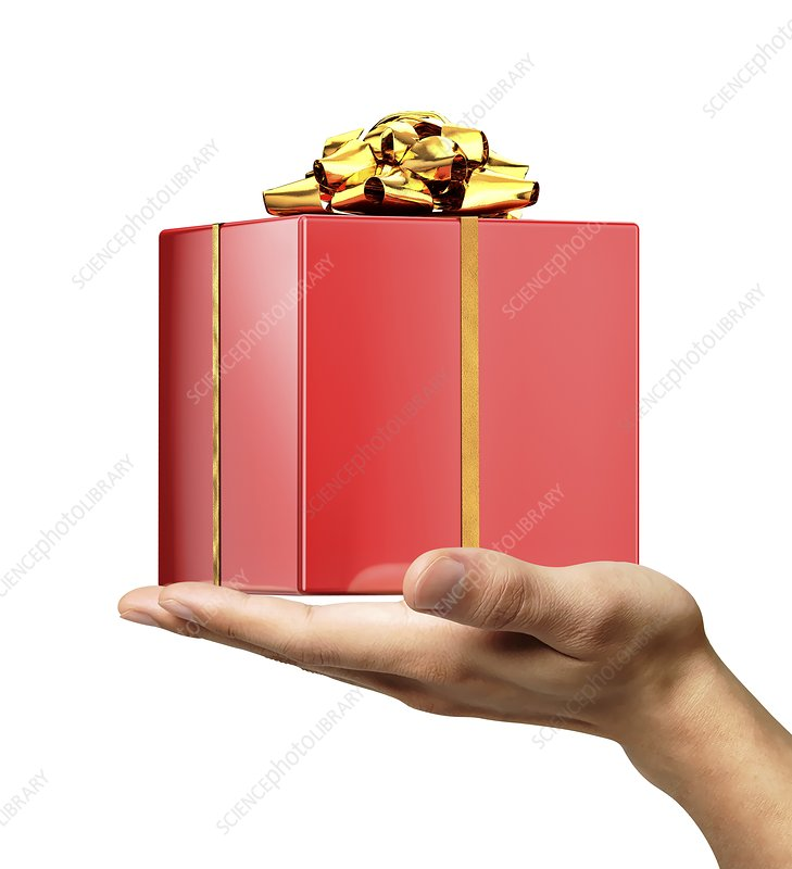 Person holding a red gift wrapped box
