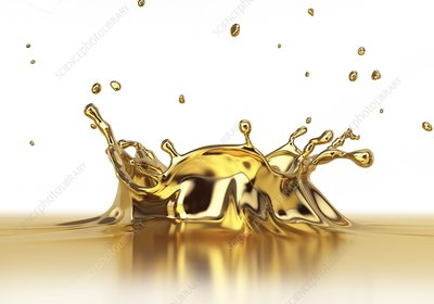 Gold liquid splashing, artwork