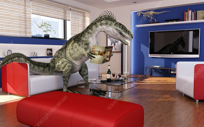 Dinosaur in a living room, artwork