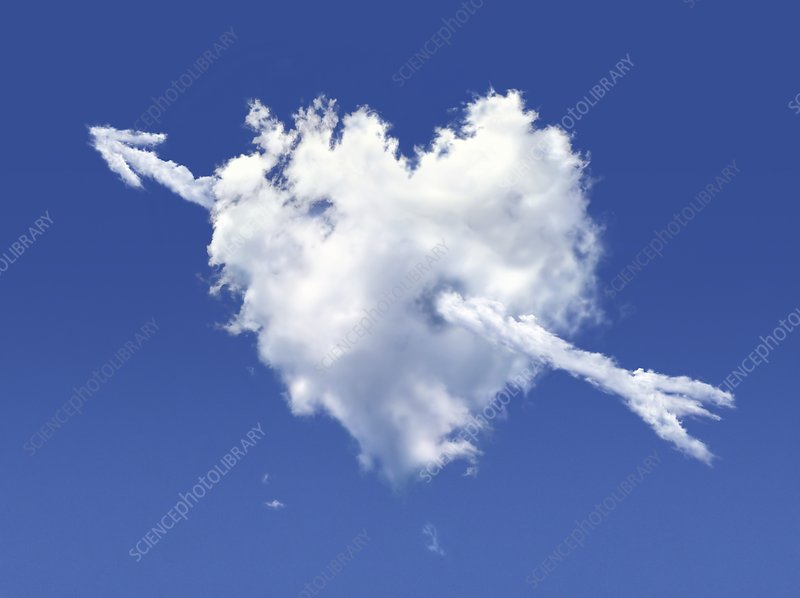Heart shaped cloud against a blue sky