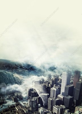 Tsunami hitting a city, artwork