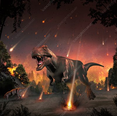 Tyrannosaurs fleeing a hail of meteorites