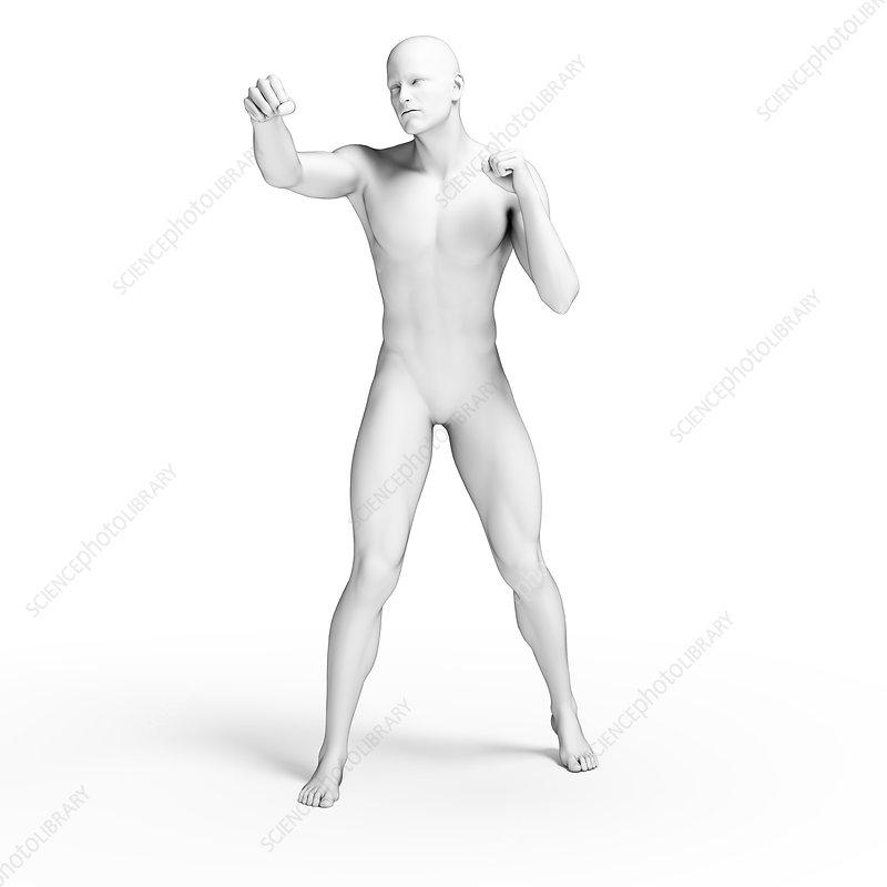 Person punching, illustration