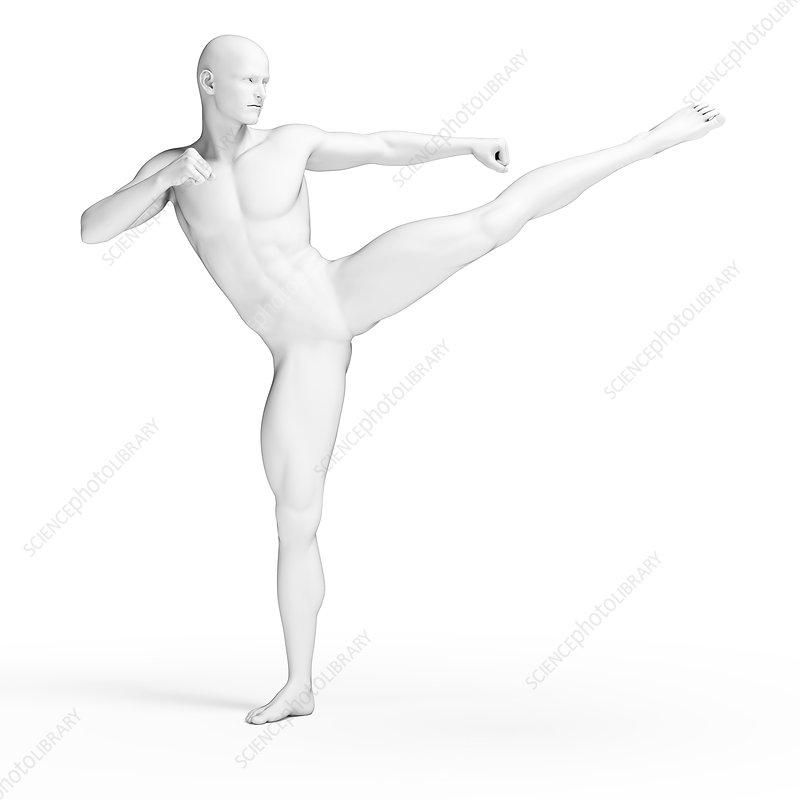 Person kicking, illustration