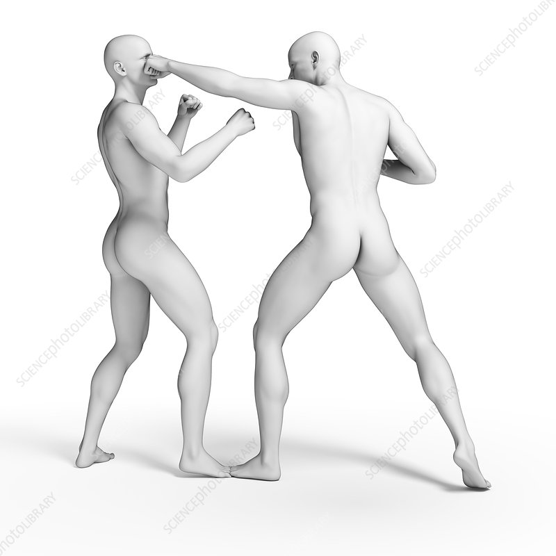 Two men fighting, illustration