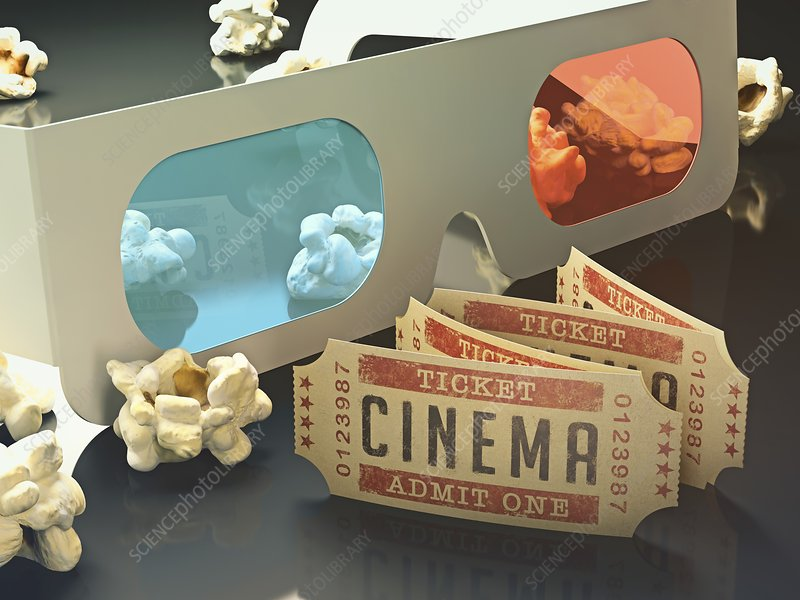 3d glasses, cinema tickets and popcorn