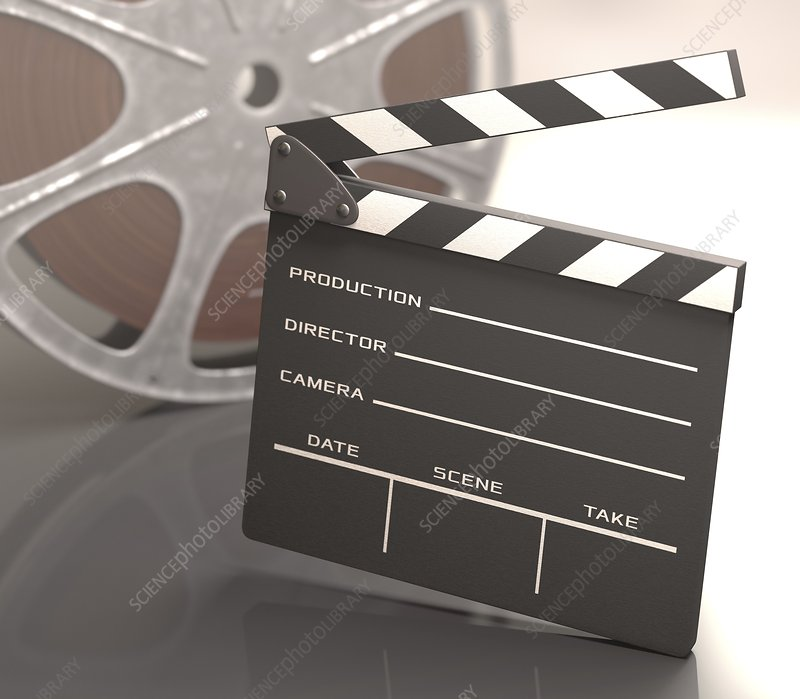 Clapperboard and movie reel, illustration