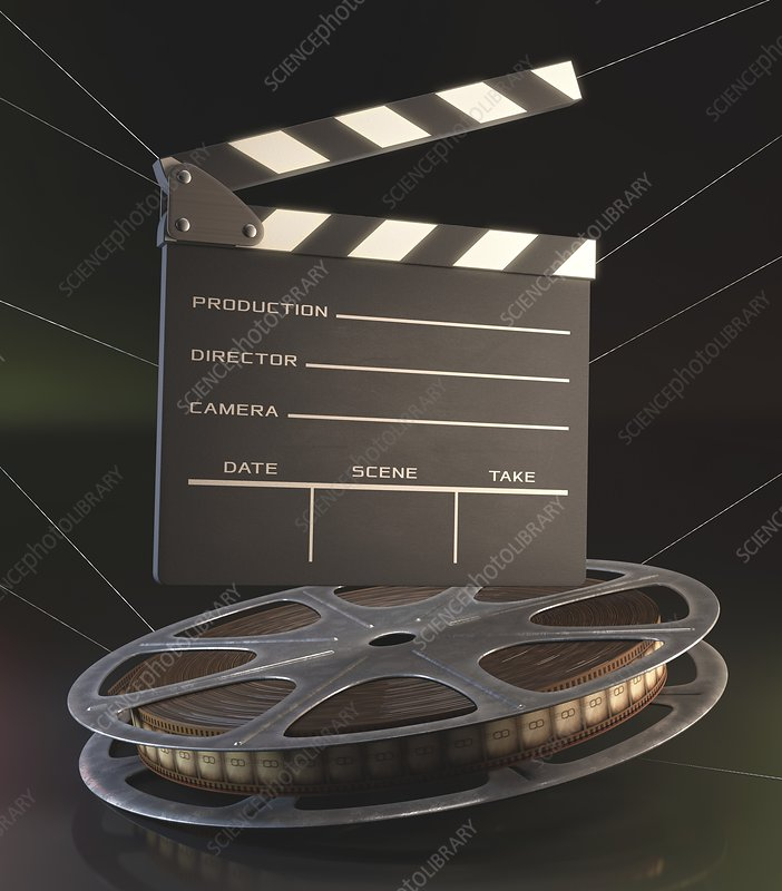 Movie reel and clapperboard, illustration