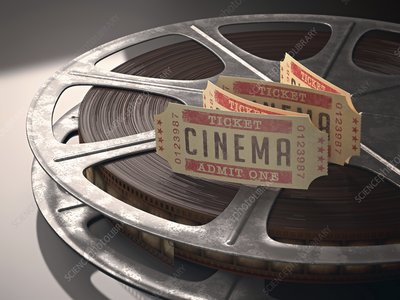 Cinema tickets and movie reel