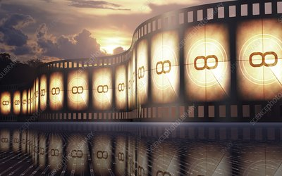 Movie reel at sunset, illustration