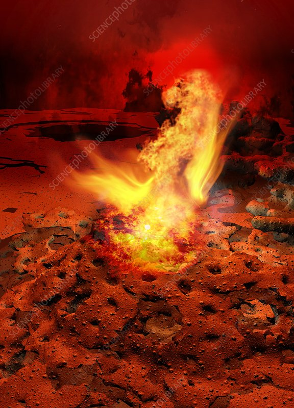 Planet with rocks and flames